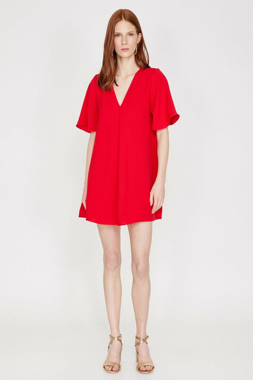 Koton V Yaka Kırmızı Mini Elbise