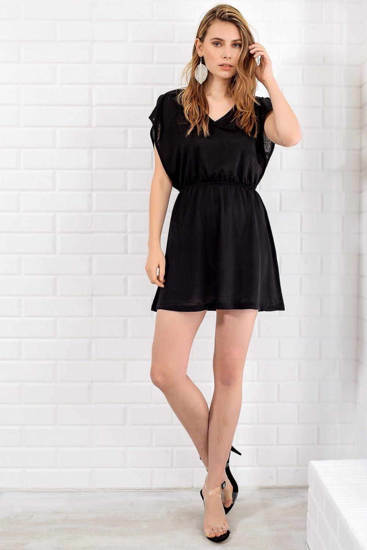 Trend: Alaçatı Stili Siyah Arka Ön V Yaka Mini Elbise