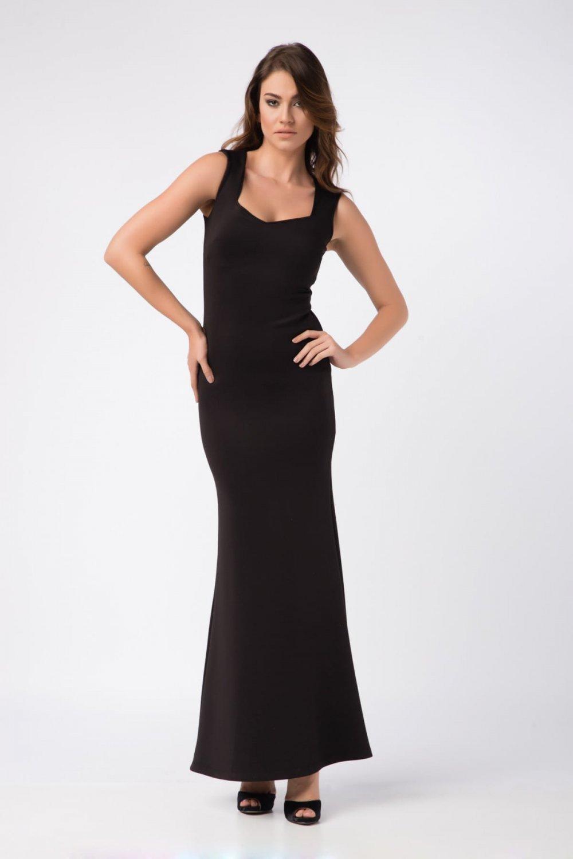 Laranor Askılı Siyah Yaka Detaylı Uzun Abiye Elbise
