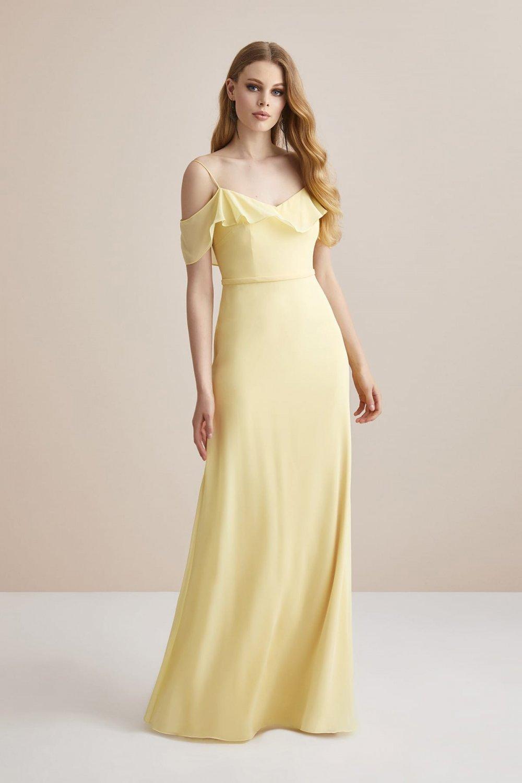 Oleg Cassini Açık Sarı İnce Askılı Şifon Uzun Abiye Elbise