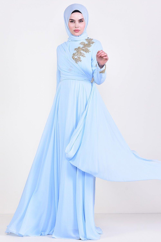 Sefamerve Bebe Mavisi Broşlu Abiye Elbise