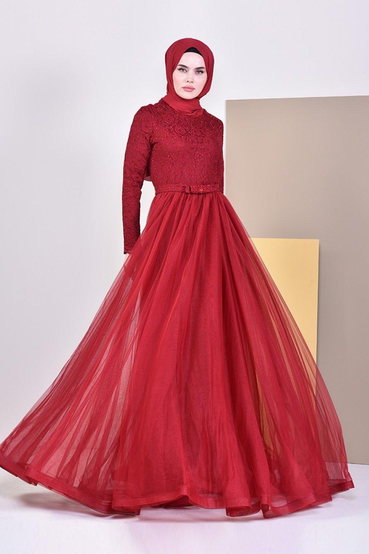 Sefamerve Bordo Dantel Detaylı Abiye Elbise