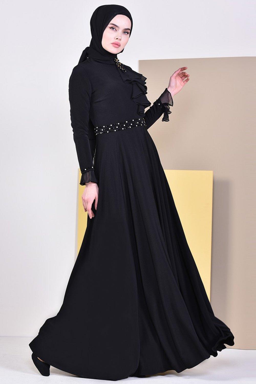 Sefamerve Siyah Boncuk İşlemeli Abiye Elbise