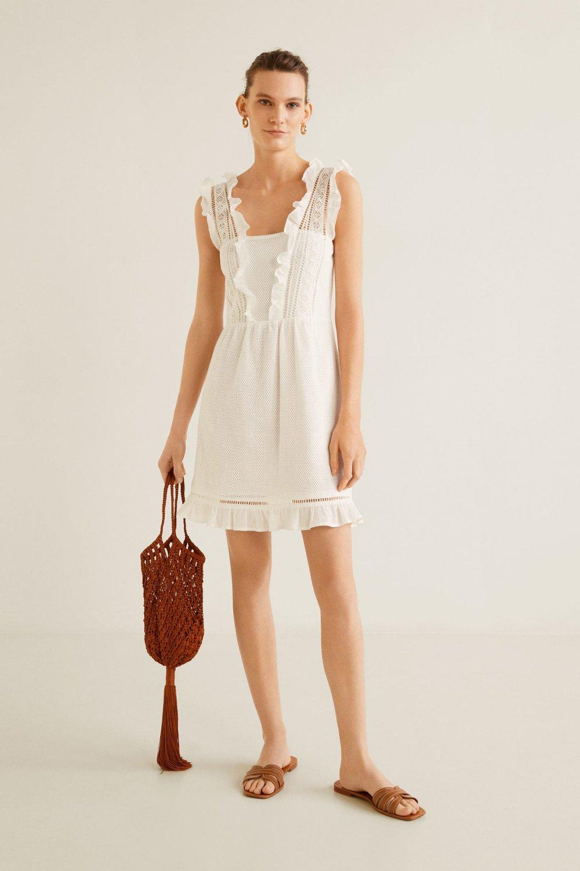575700b9fb783 Mango Askılı Kırık Beyaz Fırfırlı Mini Elbise   ElbiseBul