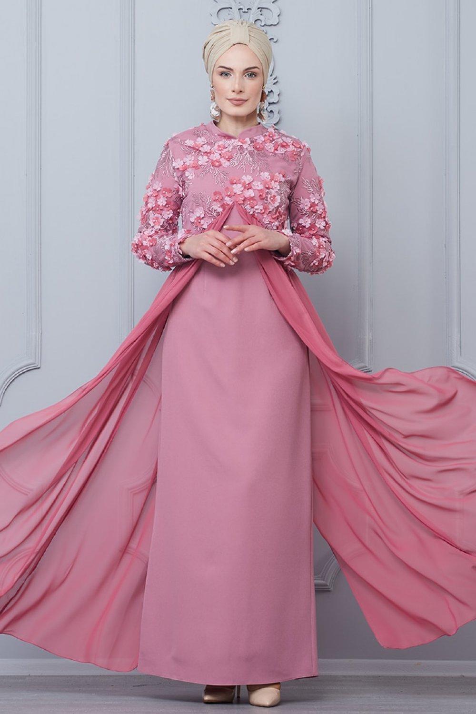 Butik Neşe Gül Kurusu Şifon Detaylı Çiçekli Abiye Elbise