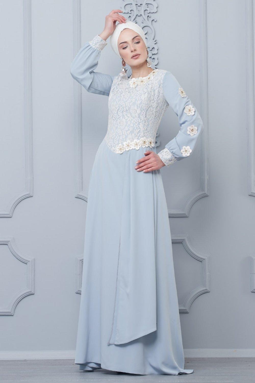 fd3d1f1a9d925 Butik Neşe Gri Güpürlü Abiye Elbise | ElbiseBul