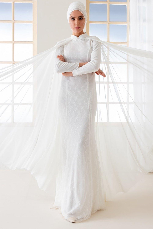 8ba685b46d954 Mwedding Beyaz Pelerin Detaylı Dantelli Abiye Elbise | ElbiseBul