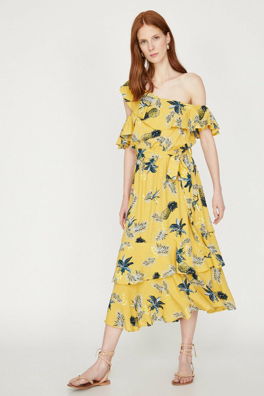 f8cdc274917ee Koton Tek Omuzlu Desenli Hardal Midi Elbise   ElbiseBul