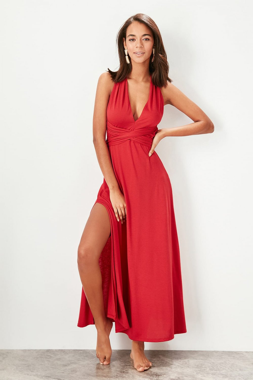 6b01e8f2410b5 Trendyolmilla Kırmızı Boyundan Bağlamalı Uzun Elbise   ElbiseBul