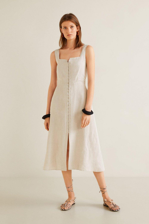 0a24553b9f461 Mango Askılı Pastel Gri Midi Boy Gömlek Elbise | ElbiseBul