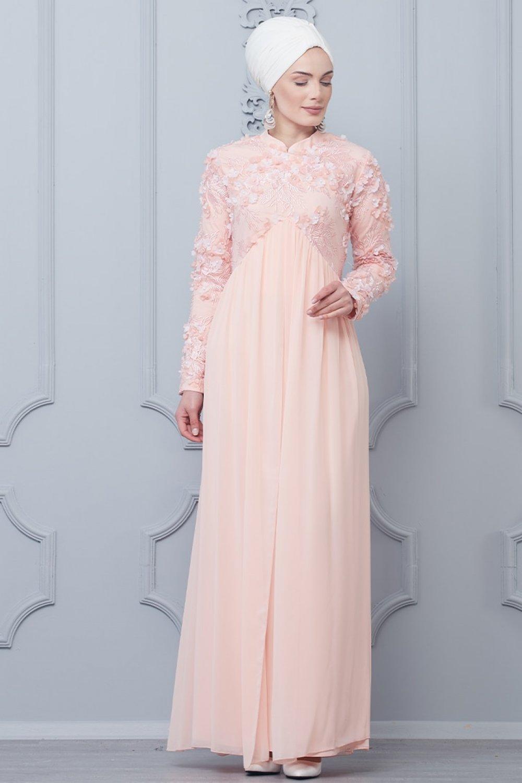 8db4478b5e022 Butik Neşe Pudra Şifon Detaylı Çiçekli Abiye Elbise | ElbiseBul