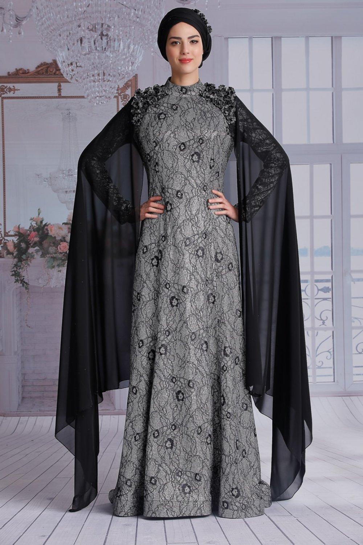 ac287d6cc19ea Nurkombin Siyah Eylül Abiye Elbise | ElbiseBul