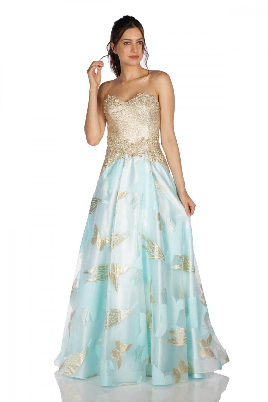 30643fa6daefd Pierre Cardin Straplez Mint İşlemeli Prenses Uzun Abiye Elbise ...