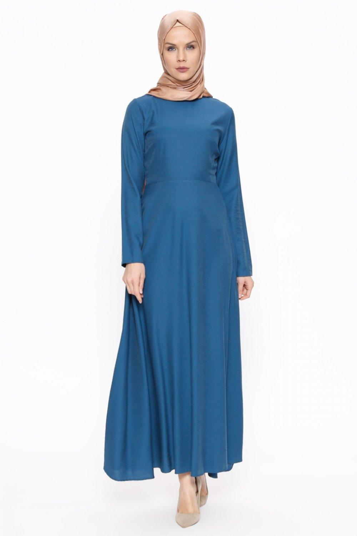 ee2eda1511d8d TUĞBA İndigo Mavi Düz Renkli Elbise   ElbiseBul