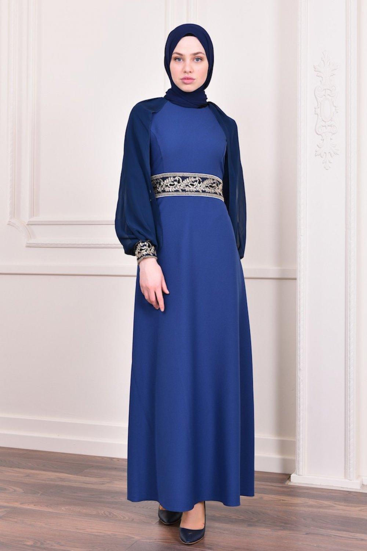 b87828ef0eefd Sefamerve İndigo Pullu Abiye Elbise   ElbiseBul