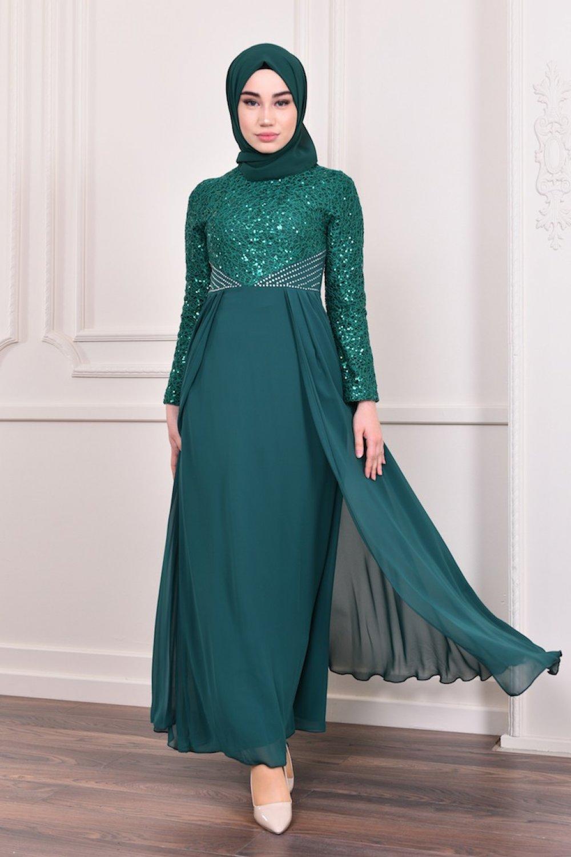 93eb24c6d57de Sefamerve Yeşil Pullu Abiye Elbise   ElbiseBul