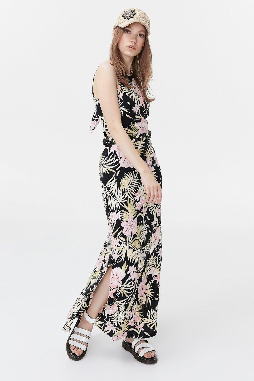Twist Askılı Sırt Dekolteli Desenli Uzun Elbise
