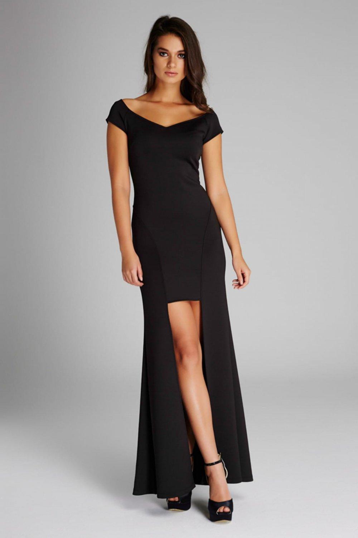 0c6c348f0e1c2 Laranor Siyah Astarlı Uzun Abiye Elbise | ElbiseBul