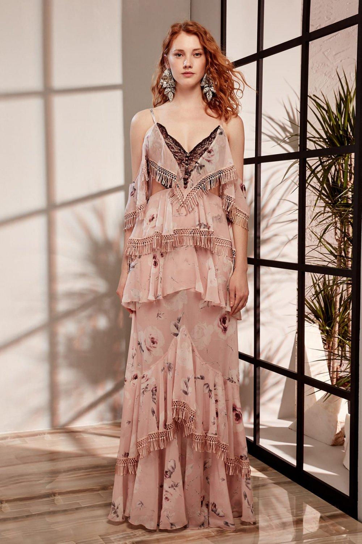 Raisa&vanessa For Trendyol Sırt Dekolteli Askılı KAIA Çiçekli Volan Detaylı Uzun Abiye Elbise