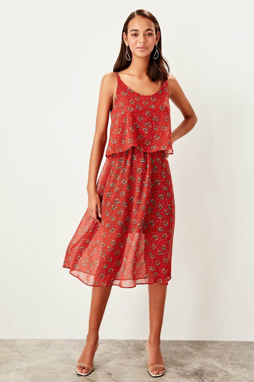 Trendyolmilla Kiremit Askılı Desenli Midi Elbise