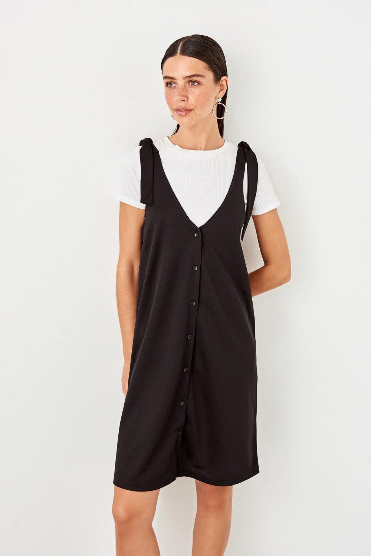 Trendyolmilla Askılı Siyah Bağlama Detaylı Örme Mini Elbise