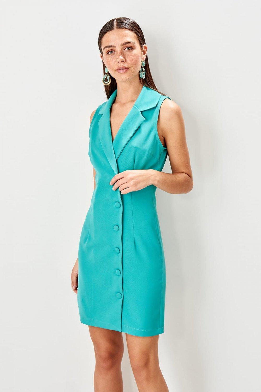 Trendyolmilla Mint Düğme Detaylı Mini Elbise