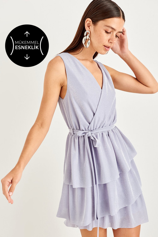 Trendyolmilla Lila Volanlı Mini Elbise