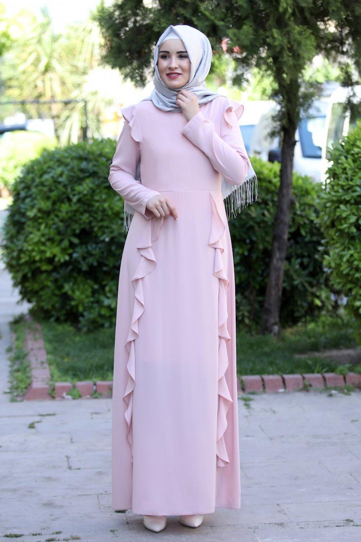 Sefamerve Pudra Volanlı Elbise