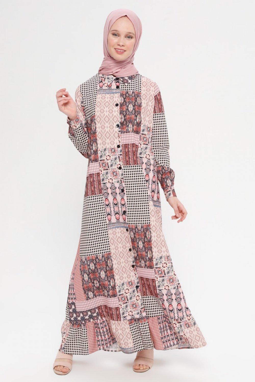 Panaline Pudra Siyah Boydan Düğmeli Desenli Elbise