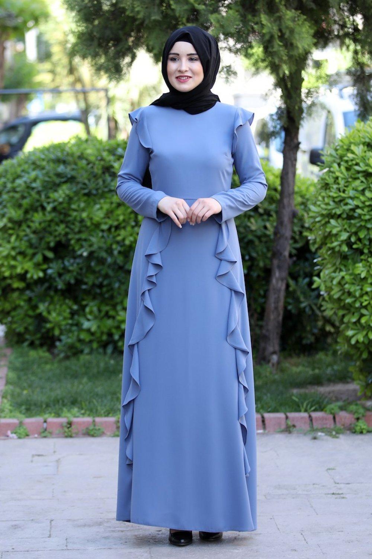 Sefamerve İndigo Volanlı Elbise