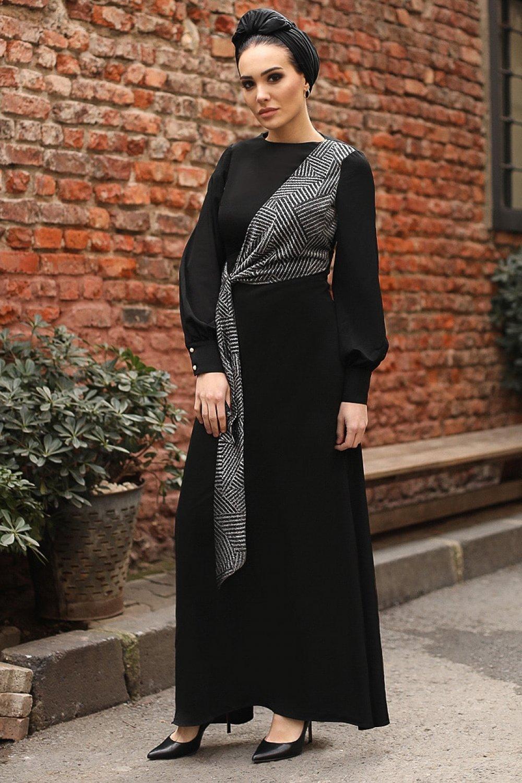 Gizem Kış Siyah Anvelop Elbise