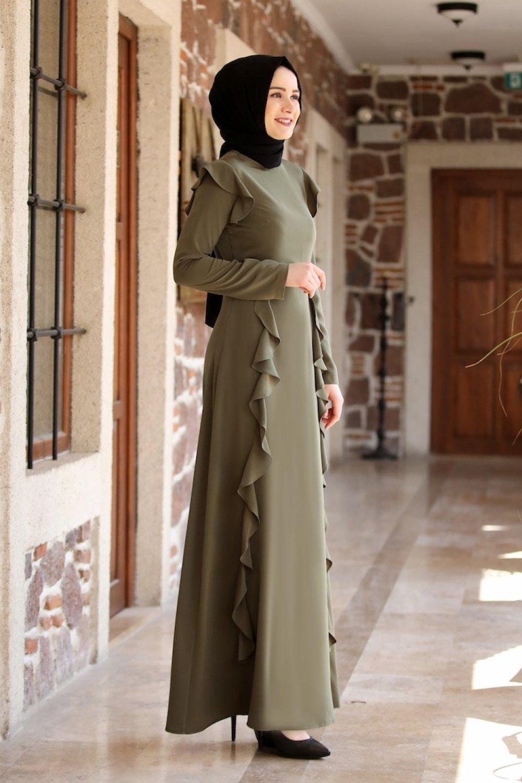 Sefamerve Haki Volanlı Elbise