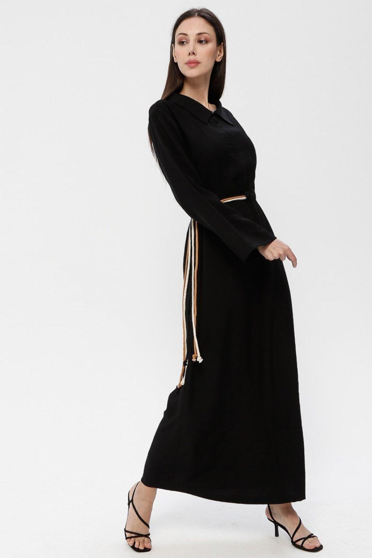 SOUL Siyah Beli Bağlamalı Elbise