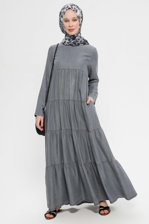 Neways Gri Tensel Kot Elbise