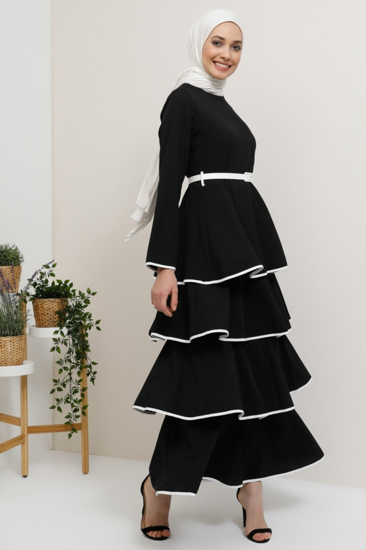 Tavin Siyah İspanyol Kemer Detaylı Volanlı Kat Kat Elbise