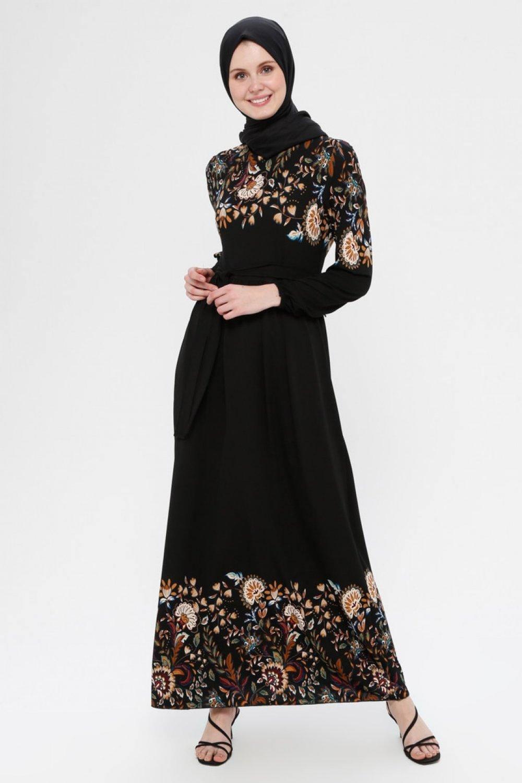 ECESUN Siyah Kırmızı Çiçek Desenli Kemerli Elbise