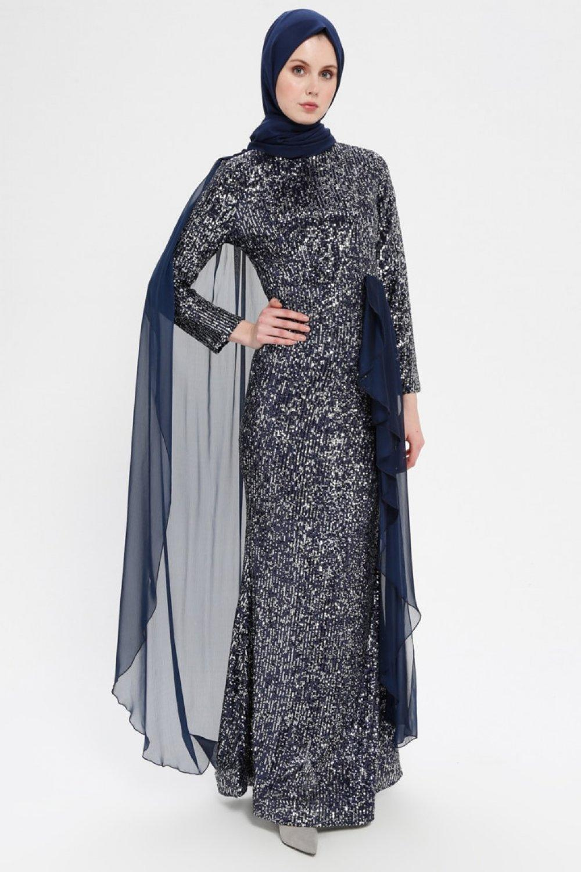 SomFashion Lacivert Tül Detaylı Payetli Abiye Elbise