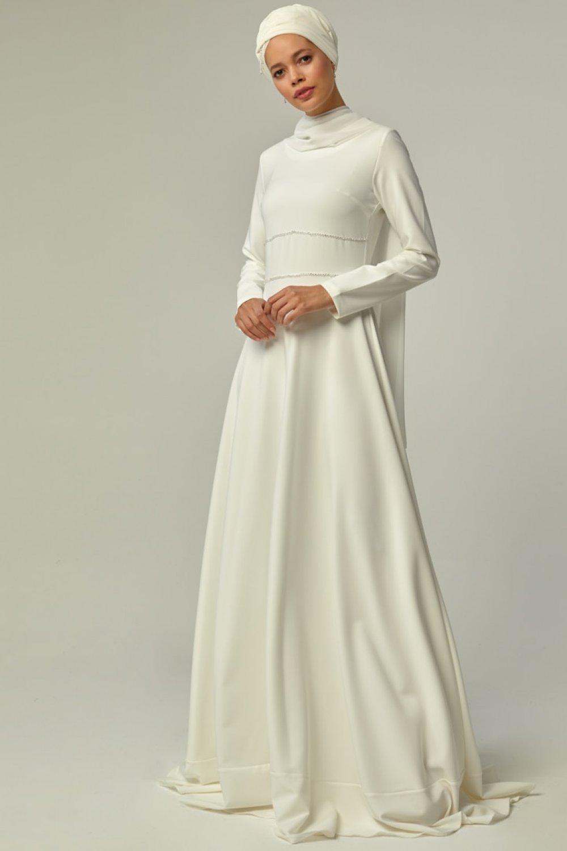 Mwedding Beyaz Taş Detaylı Abiye Elbise