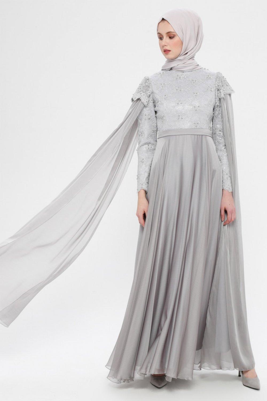 SomFashion Gri Tül Detaylı İncili Abiye Elbise