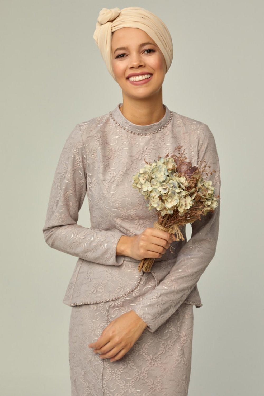 Mwedding Lila Dantelli Abiye Elbise