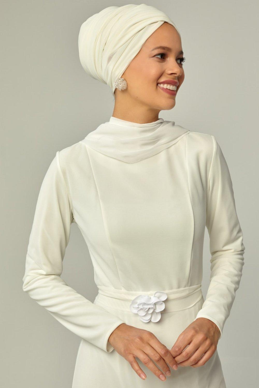 Mwedding Beyaz Üç Boyutlu Çiçek Detaylı Abiye Elbise