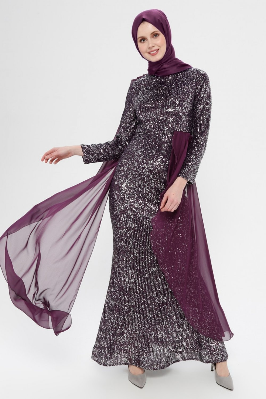 SomFashion Mor Tül Detaylı Payetli Abiye Elbise