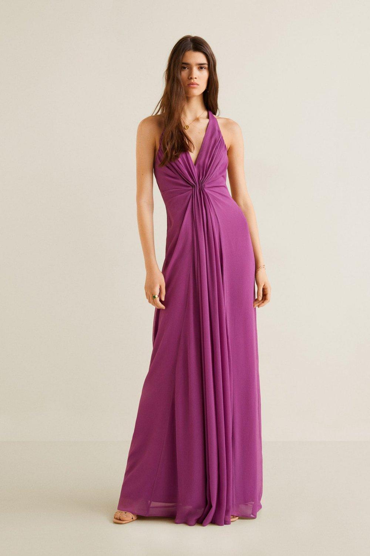 Mango Sırt Dekolteli Askılı Uzun Şifon Abiye Elbise
