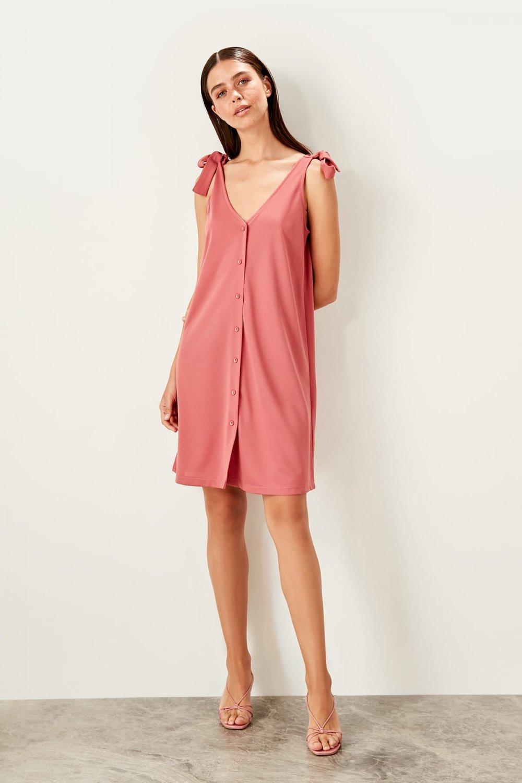 Trendyolmilla Askılı Gül Kurusu Bağlama Detaylı Örme Mini Elbise