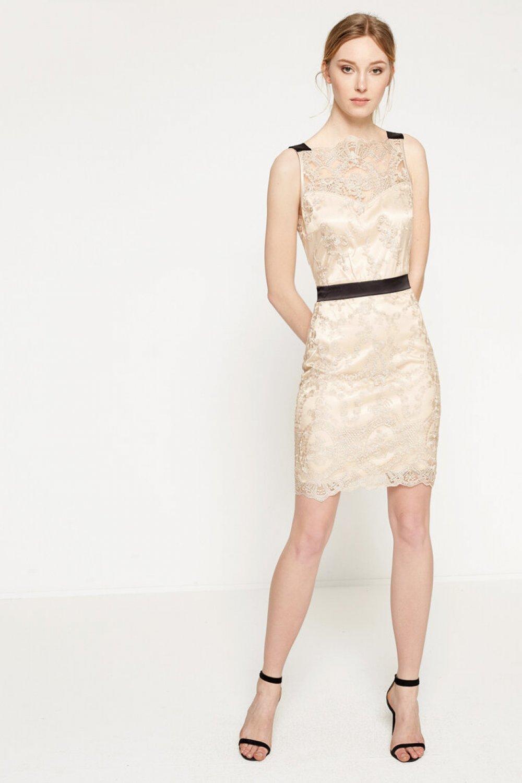 a7b6834525253 Koton Dantel Detaylı Altın Rengi Mini Abiye Elbise | ElbiseBul