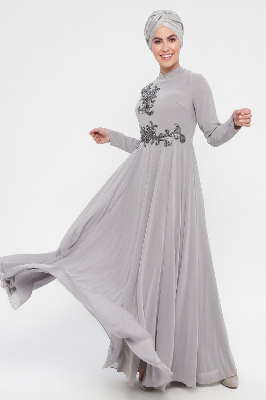 eeed209820787 DMN Gri Boncuk İşlemeli Abiye Elbise | ElbiseBul