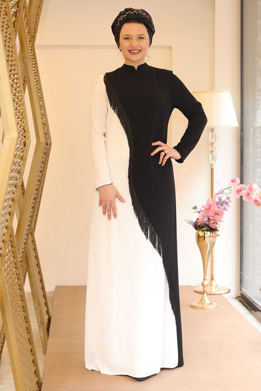 Saliha Siyah Beyaz Berrak Abiye Elbise
