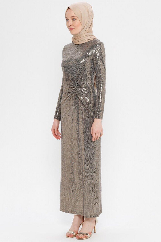 Puane Gold Dore Beli Düğümlü Abiye Elbise