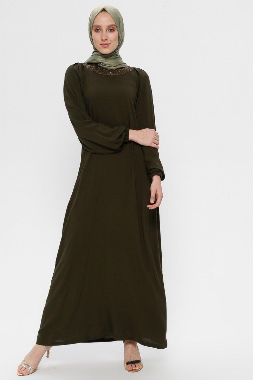 Ginezza Haki Drop Baskı Detaylı Elbise