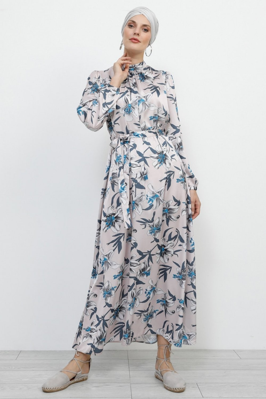 Refka Pembe Desenli Elbise